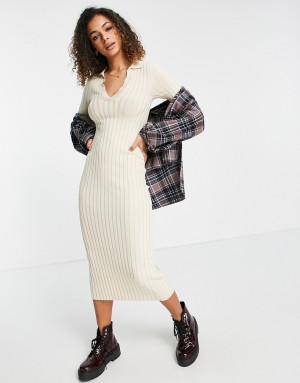 Бежевое платье миди с воротником Monki Jaquline-Нейтральный